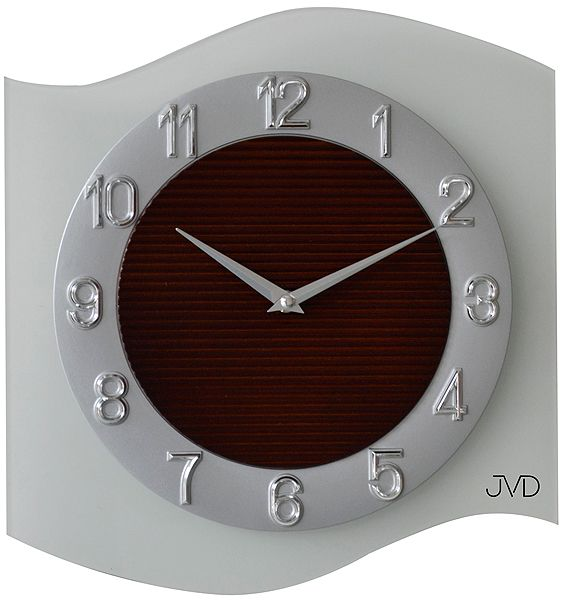 Skleněné moderní nástěnné hodiny JVD quartz N13042.1 VLNKA mléčné sklo