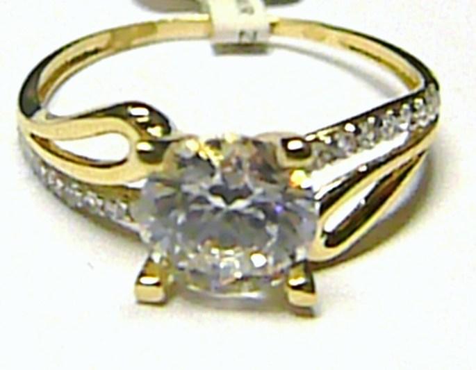 Luxusní mohutný zásnubní zlatý prsten s velkým zirkonem 585/1,67 gr vel. 52 P190 (1211109.5.52.01)