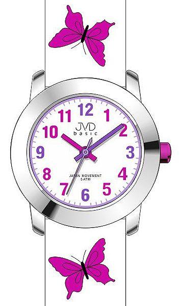 Dívčí dětské růžové hodinky JVD basic J7142.1 s motivem motýlka