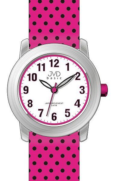 Dívčí růžové dětské náramkové puntíkaté vodě odolné hodinky J7140.1