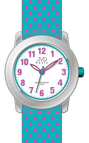 Dívčí světle modré dětské náramkové puntíkaté vodě odolné hodinky J7140.3