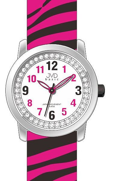 Dětské dívčí náramkové hodinky JVD basic J7136.2 se zebřím motivem ZEBRA