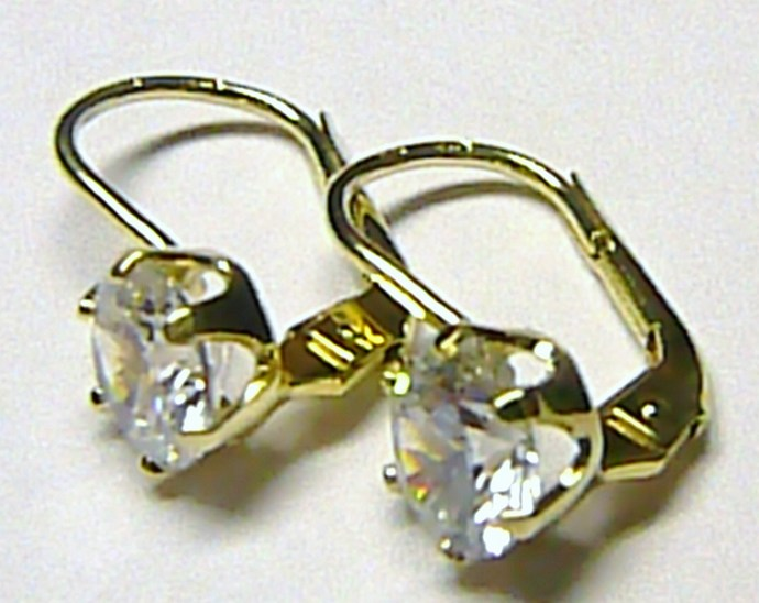 Luxusní zlaté náušnice s velkými zirkony v krapnách 585/1,80gr 236041196 (236041196)