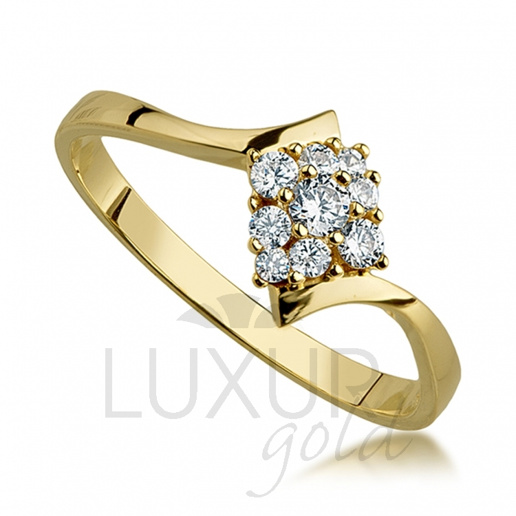 Luxusní moderní zlatý prstýnek posetý zirkony 585/1,67 gr 1850704-0-51-1 (1850704-0-51-1)