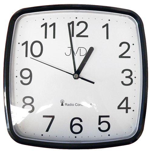 Černé hranaté rádiem řízené levné hodiny JVD RH616.3