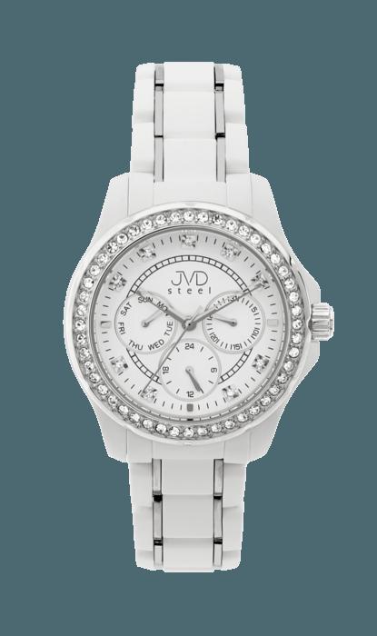 Bílé dámské chronografy náramkové hodinky JVD steel W29.1 (POŠTOVNÉ ZDARMA!!!)