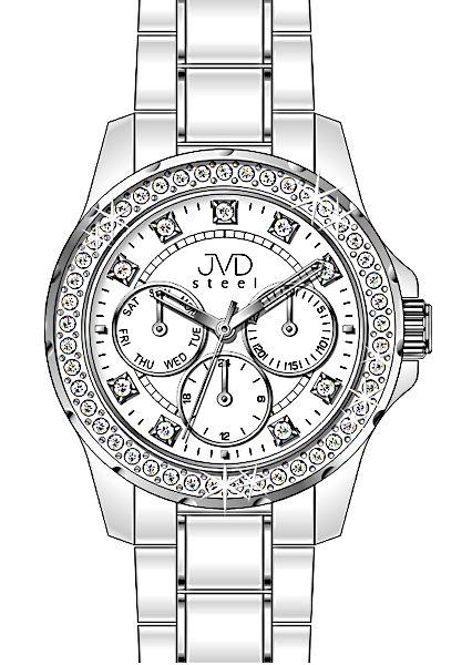 Bílé dámské chronografy náramkové hodinky JVD steel W29.1