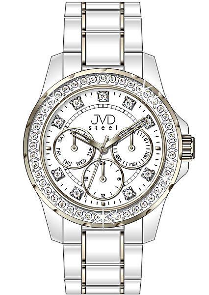 Bílé dámské chronografy náramkové hodinky JVD steel W29.2 - vodotěsné 10ATM