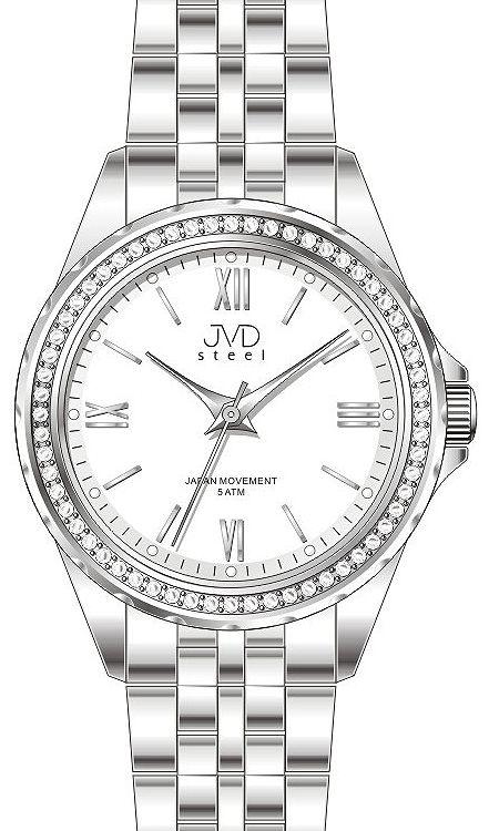 Dámské moderní náramkové hodinky JVD steel J4120.2 s ozdobnými kamínky