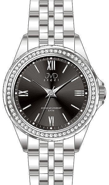 Dámské moderní náramkové hodinky JVD steel J4120.3 s ozdobnými kamínky