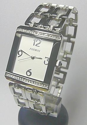 Luxusní ocelová dámské stříbrné hranaté hodinky Foibos 20844