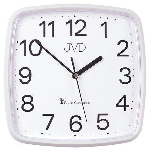 Bílé hranaté rádiem řízené levné hodiny JVD RH616.1
