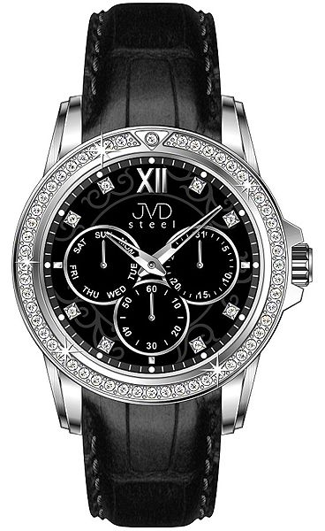 99391c8abb9 Dámské luxusní černé vodě odolné náramkové hodinky JVD steel W53.3