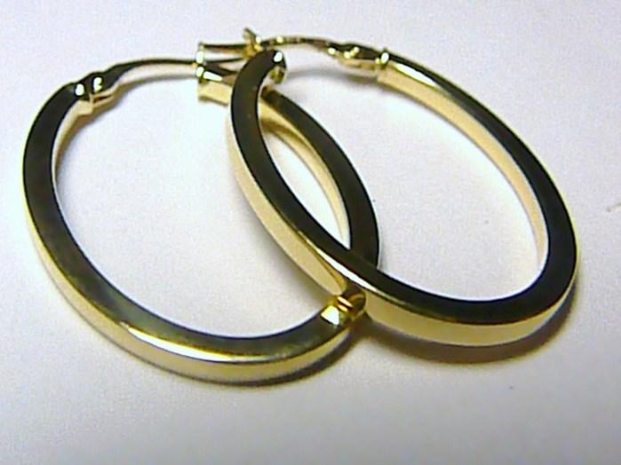 Mohutné velké zlaté oválky - zlaté náušnice 33mm kruhy 585/1,76gr H140