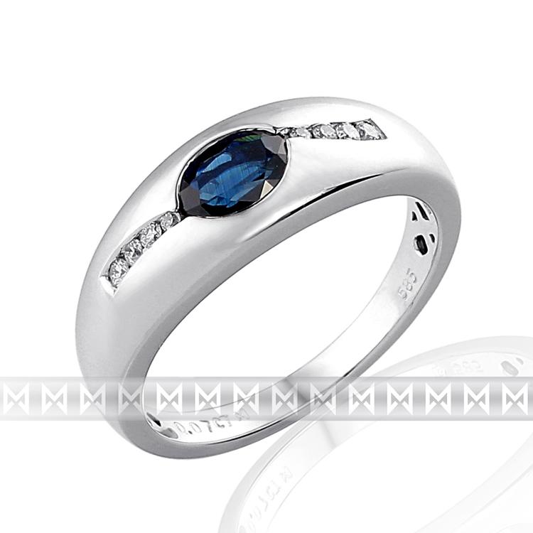 Mohutný zlatý prsten z bílého zlata s diamanty a modrým safírem 585/3,6 gr POŠTOVNÉ ZDARMA!