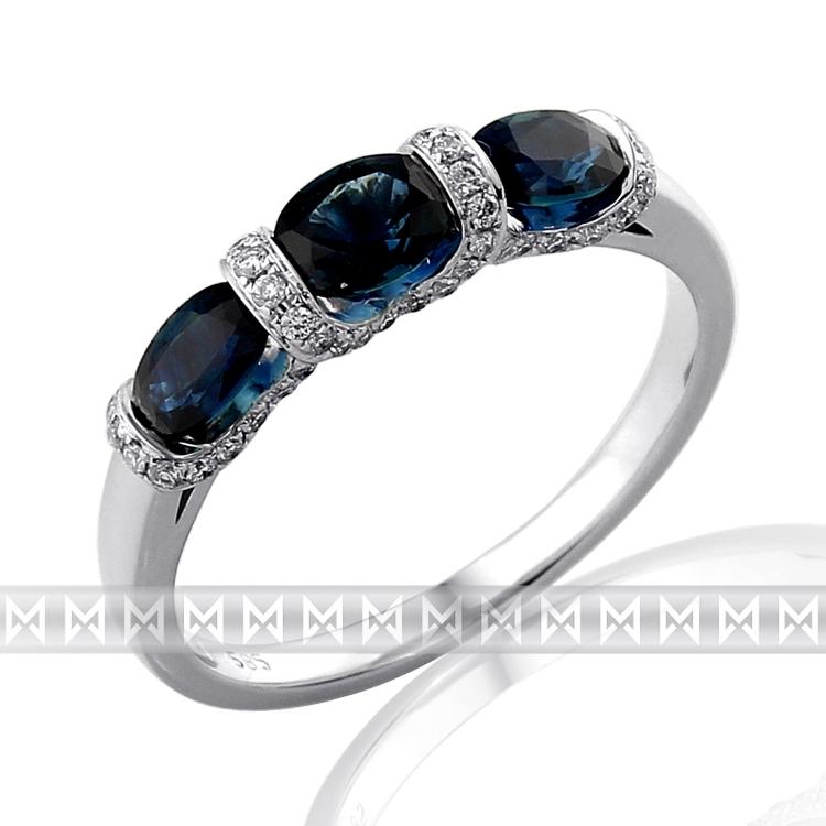 Diamantový prsten z bílého zlata 3ks velkých modrých safírů 3x1,14 ct 585/2,43gr POŠTOVNÉ ZDARMA! (3861979-0-54-92)