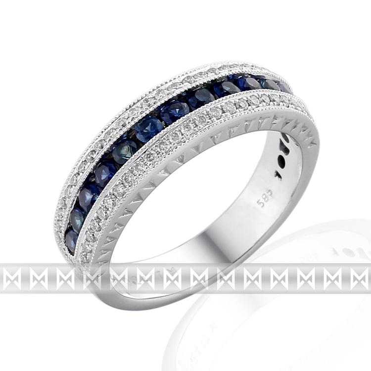 Diamantový prsten z bílého zlata posetý diamanty (60 ks) a modrými safíry (13ks) POŠTOVNÉ ZDARMA! (3861032-0-52-92)