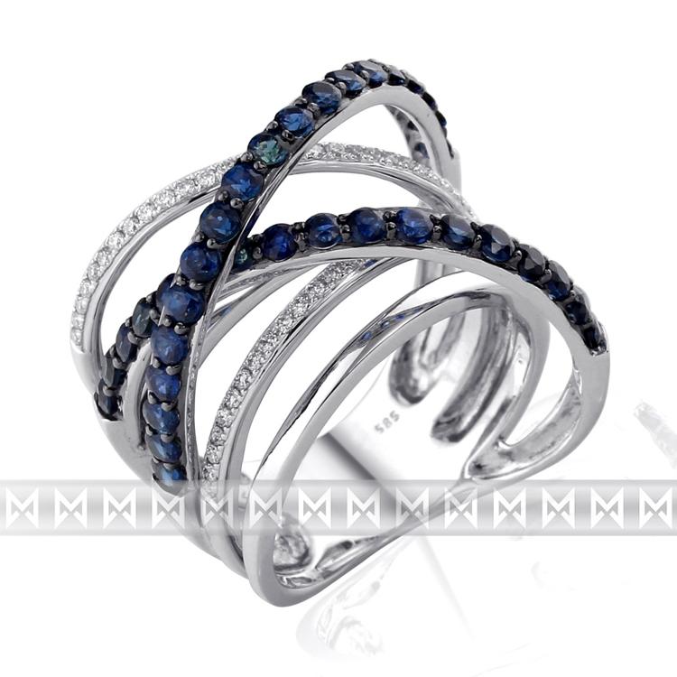 Diamantový zlatý prsten z bílého zlata s diamanty a modrými safíry 36ks/1,87ct POŠTOVNÉ ZDARMA! (3861513-0-54-92)