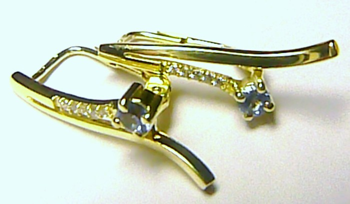 Luxusní mohutné zlaté náušnice se zirkony a akvamarínem 585/2,78 gr Z033 POŠTOVNÉ ZDARMA!