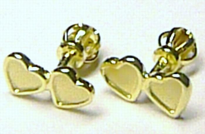 Zlaté dámské pecičky - pecky ve tvaru srdíček - náušnice 585/0,75gr Z034 (231040917 POŠTOVNÉ ZDARMA!)