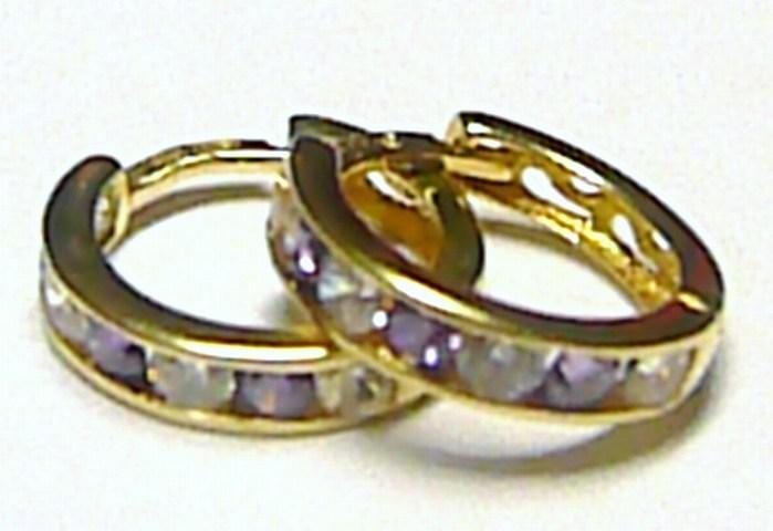 Zlaté kroužky - zlaté náušnice kruhy s fialovými zirkony 585/1,15 gr P210