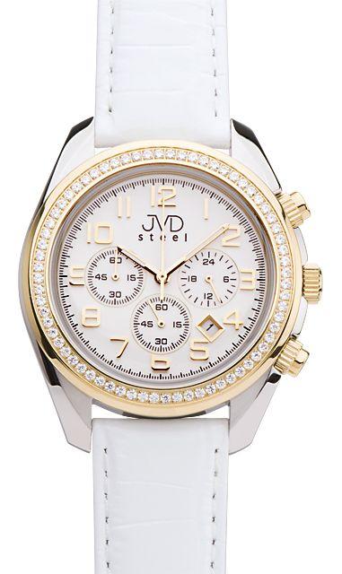 Dámské luxusní bílé chronografy hodinky JVD steel C1163.2 - 5ATM POŠTOVNÉ ZDARMA!