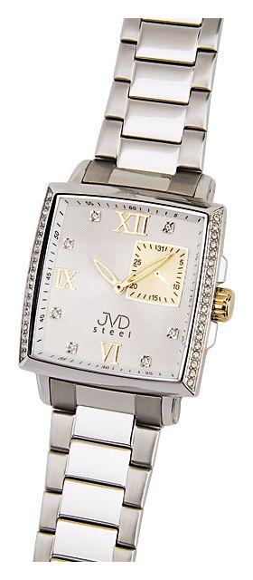 Dámské luxusní hranaté hodinky JVD steel F92.3 - 5ATM