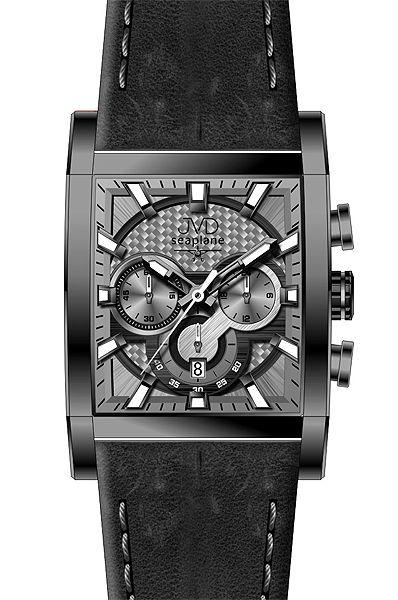 Hranaté luxusní moderní černé hodinky JVD seaplane W54.1 - chronografy POŠTOVNÉ ZDARMA!