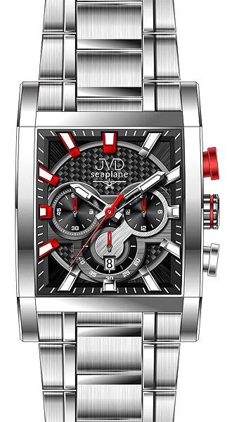 Hranaté luxusní moderní černé hodinky JVD seaplane W54.2 - chronografy POŠTOVNÉ ZDARMA!