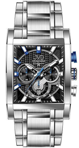 Hranaté luxusní moderní černé hodinky JVD seaplane W54.3 - chronografy POŠTOVNÉ ZDARMA!