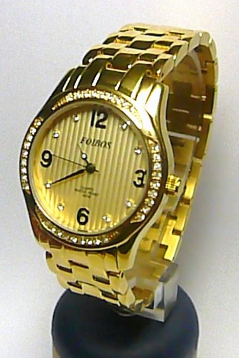 Dámské šperkové luxusní zlacené hodinky Foibos 21501 osazené bílými kamínky POŠTOVNÉ ZDARMA!