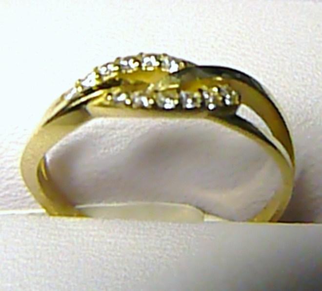 Luxusní zlatý prsten se zirkony (12 ks) vel. 52 585/1,67 gr P218