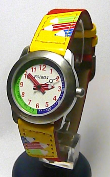 Dětské červené žluté hodinky Foibos 8530.1 s barevnými pastelkami (pastelky)