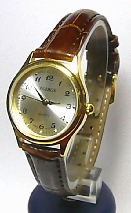 Dámské elegantní ocelové hodinky Foibos 445.6 na koženém pásku (hnědá kůže)