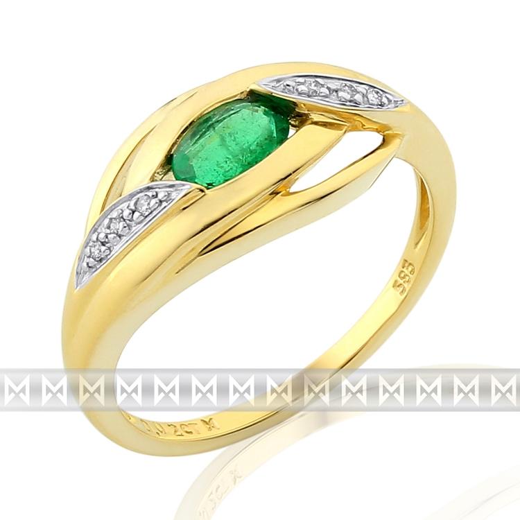 Diamantový zlatý prsten ze žlutého zlata se smaragdem (0,45ct) 585/3,05 gr POŠTOVNÉ ZDARMA! (3811913-5-55-96)