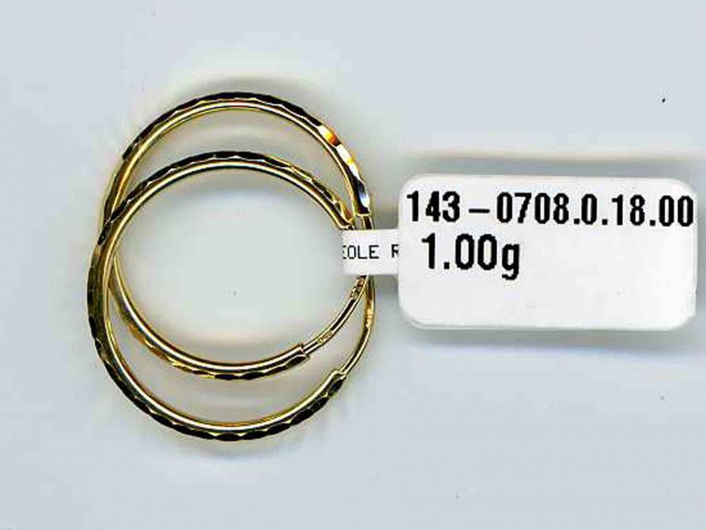 Zlaté velké kruhy - zlaté náušnice průměr 18mm s gravírováním 585/0,95gr