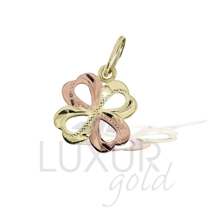 Zlatý dvoubarevný přívěsek - čtyřlístek pro štěstí 585/0,5gr 3220150 (3220150 - POŠTOVNÉ ZDARMA)