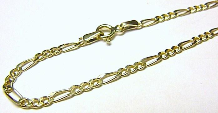Pánský silný mohutný zlatý řetízek (FIGARO) 585/1,39gr 50cm H188