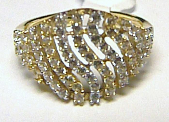 Luxusní mohutný velký zlatý prsten posetý zirkony (35 ks) 585/1,76gr vel.56 H215 POŠTOVNÉ ZDA