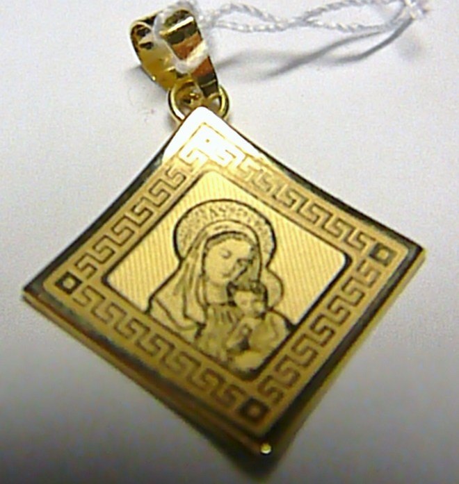 Mohutná velká zlatá madonka s dítětem ve zlatém rámečku přívěsek 585/1,02gr H219