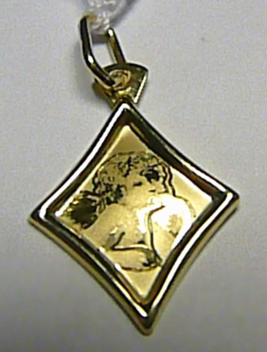 Velký zlatý přívěsek - andělíček v rámečku - přívěsek 585/0,52gr H220
