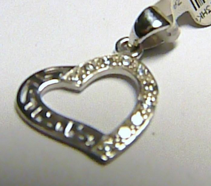 Zlatý přívěsek - srdce z bílého zlata poseté zirkony 10 ks 585/0,85 gr P232
