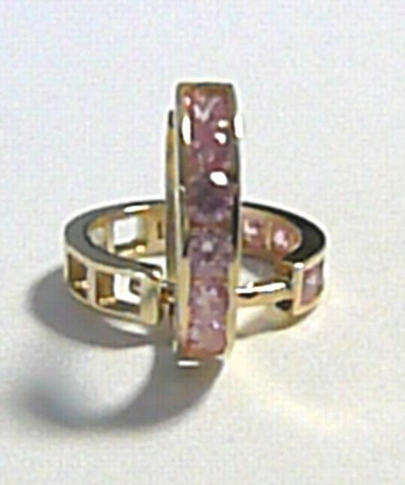 Zlaté kruhy - zlaté kroužky s růžovými zirkony 585/1,15 gr pr. 12 mm P239