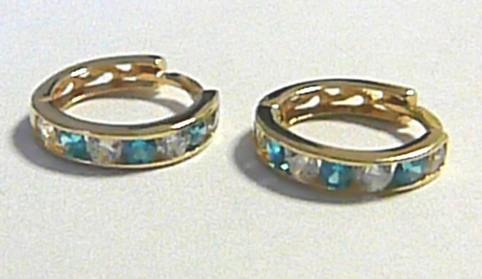 Zlaté kruhy - zlaté kroužky se světle modrými zirkony 585/1,12 gr pr. 12 mm P240