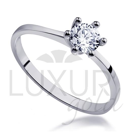 Mohutný zásnubní prsten z bílého zlata osazený velkým zirkonem 585/1,82 gr POŠTOVNÉ ZDARMA! (1860265-0-50-1)