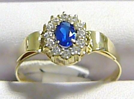 Mohutný dámský prstýnek s modrým safírem a zirkony 585/2,12 gr vel.58 P259 POŠTOVNÉ ZDARMA!