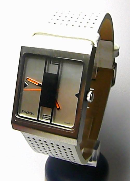 Dámské hranaté bílé extravagantní ocelové hodinky Foibos 2300 s bílým páskem