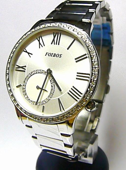 Luxusní střbrné dámské voděodolné hodinky poseté zirkony Foibos 1k931 5ATM POŠTOVNÉ ZDARMA!