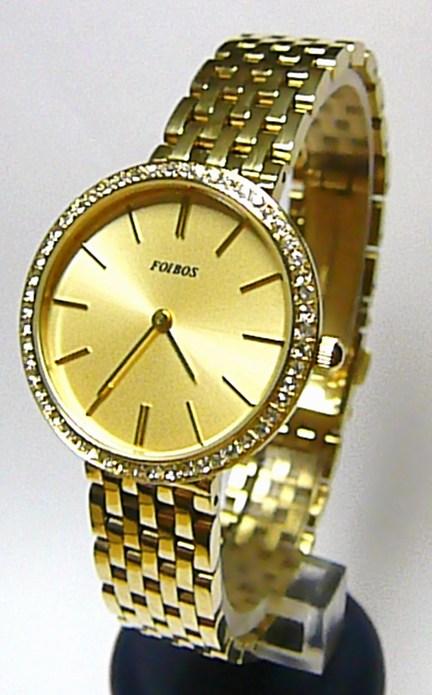 Zlaté elegantní dámské hodinky Foibos 1U151 posté zirkony po lunetě 3ATM  POŠTOVNÉ ZDARMA! 7f68edc2aa