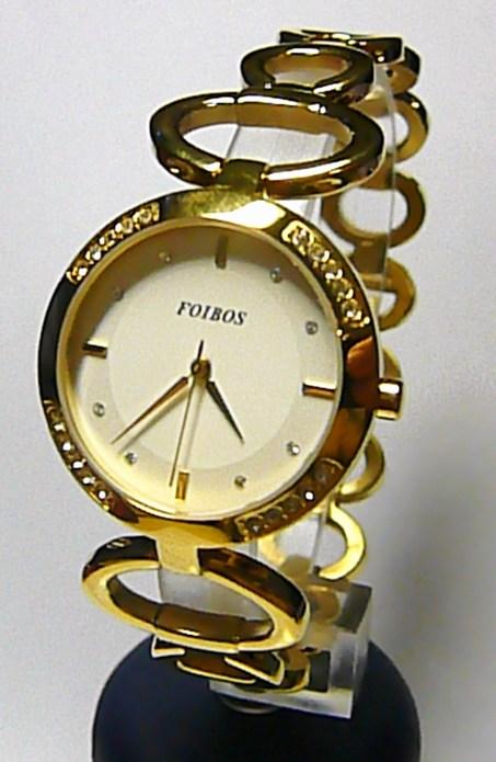 Luxusní zlacené ocelové dámské hodinky Foibos 217861 se zirkony 3ATM 57d9abdbbf